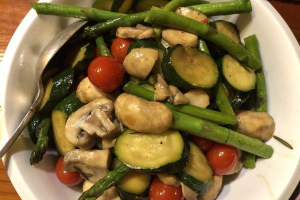 Stir-Fried Mushroom, Asparagus, Zucchini and Tomato Recipe