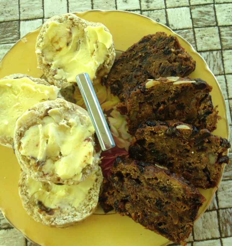 This image has an empty alt attribute; its file name is scones-and-fruitcake-768x814.jpg