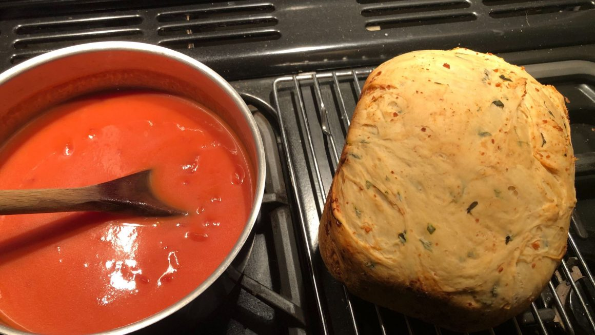 Tomato Soup And Fresh Bread Equals Tired Happiness