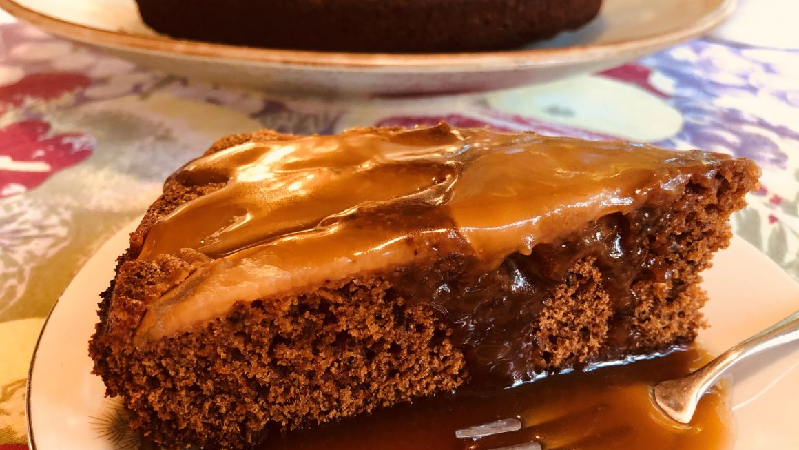 Nola's Ginger Pear Date and Cake with Caramel Sauce